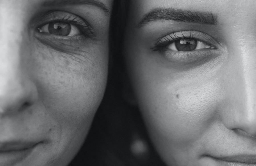 Close-up of two women