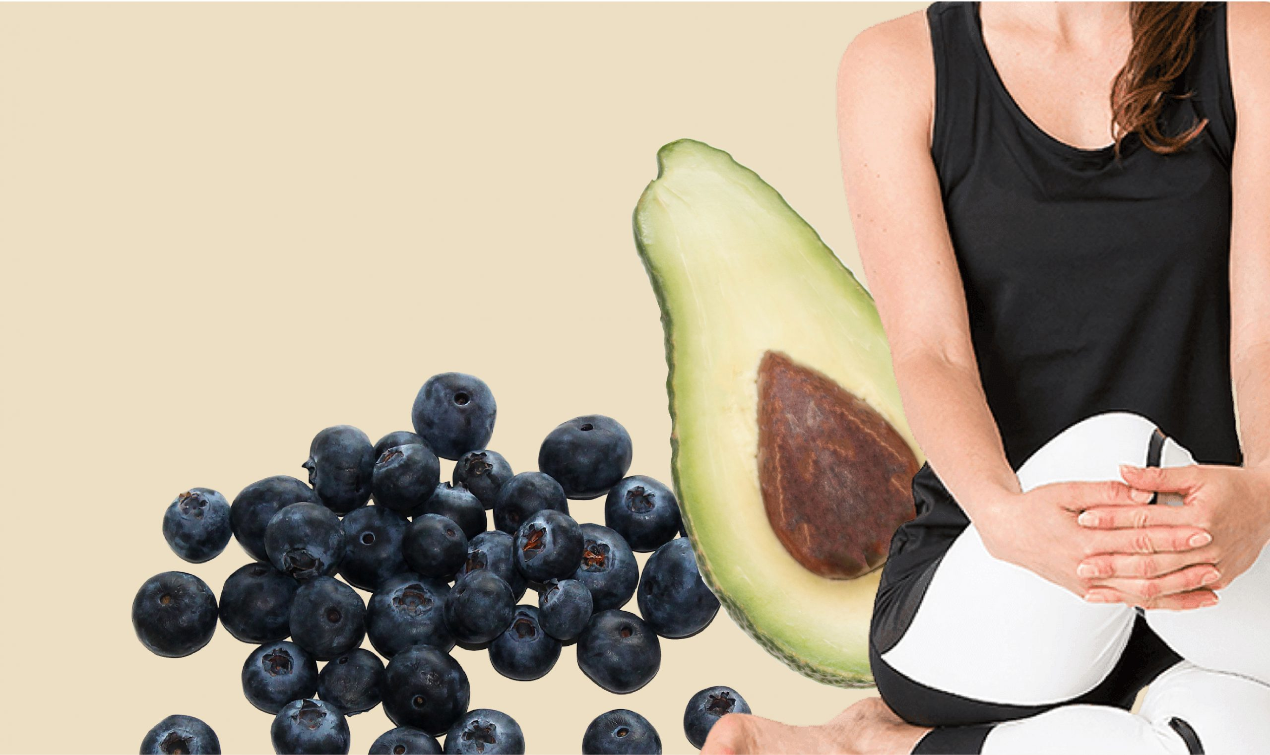 A woman, an avocado and blueberries