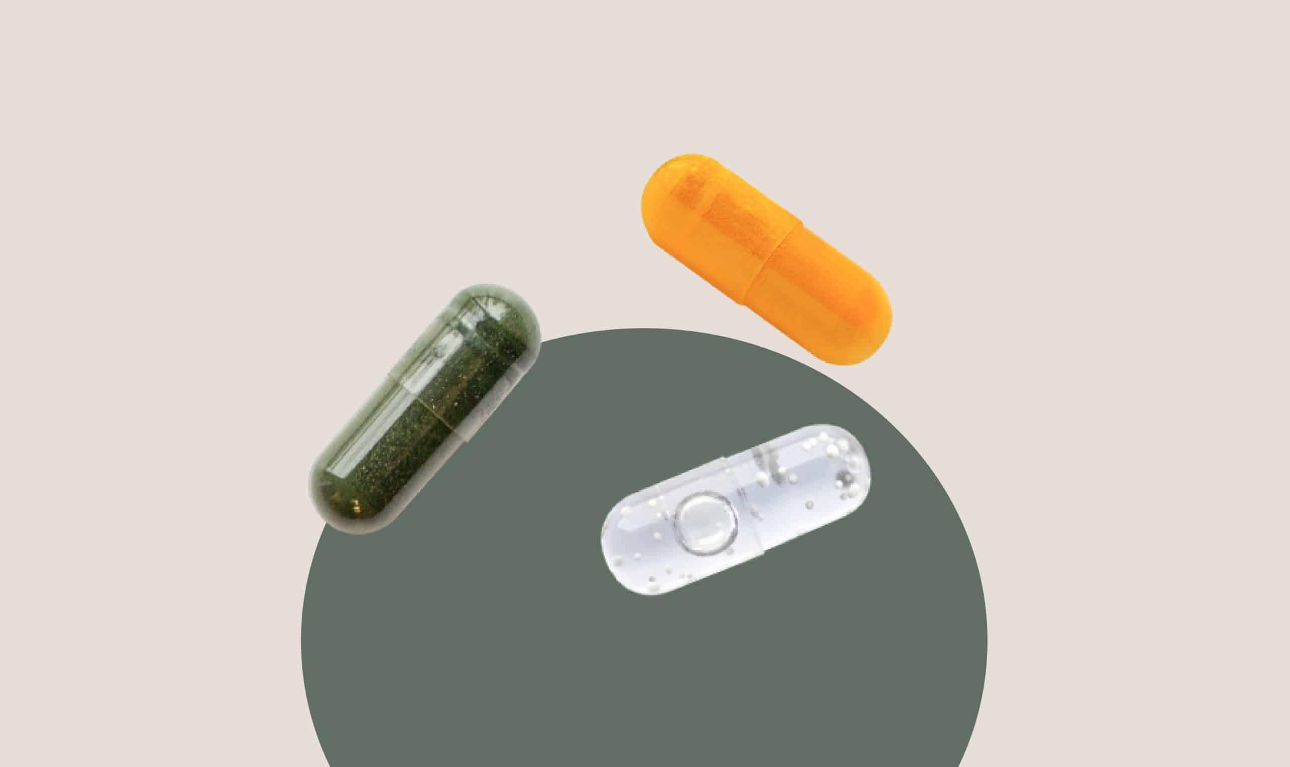 Calcium pills of different colors