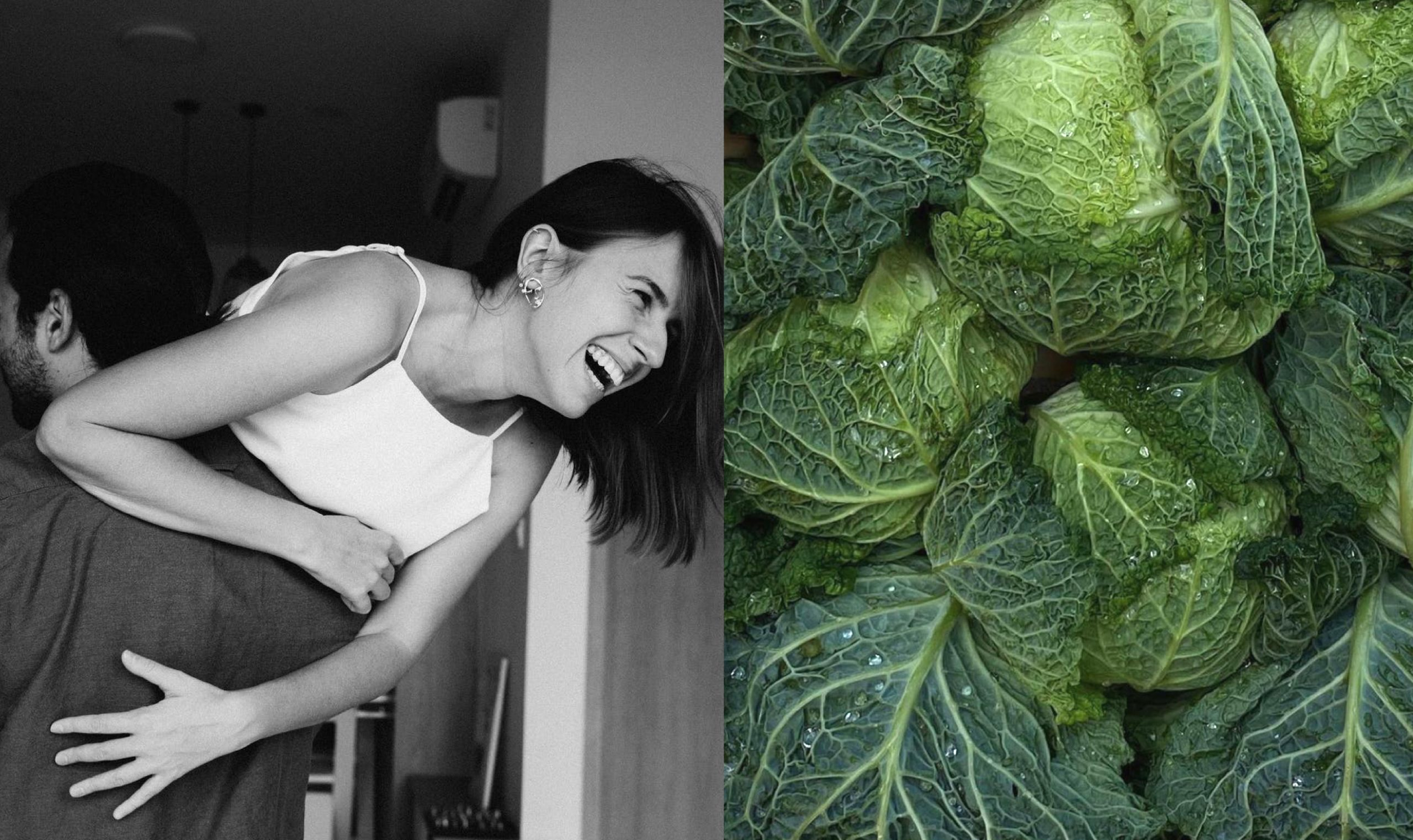 A couple laughing with lettuces