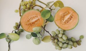 Cantaloupe melon and grapes